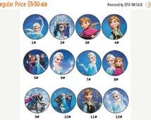 SALE 12 PCS Frozen Elsa Anna 30MM Princess Resin Printed Flatback Button For Hair Bow Center