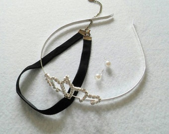 Cinderella Accessories Set of Headband, Choker and Earrings. New Look.