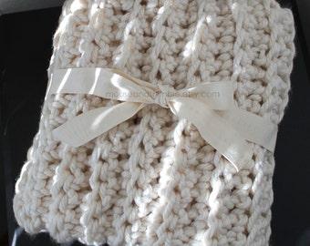 "Bulky Baby Blanket Fisherman Style Throw - Crochet PATTERN - 32"" x 24""/(81 x 61) cm - PDF 2432"