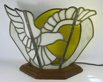 Vintage STAINED GLASS Lamp Light TV Table Mantle - Sun and Dove - Mid-Century - Works - Beautiful