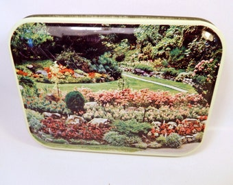 Vintage BUTCHART GARDENS Blue Bird Confectionery Tin - England / Victoria, B.C. Canada / Red with Flowers / Container - Trinket Box