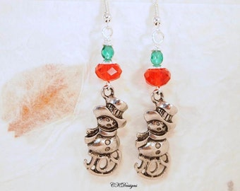 Snowman Earrings, Snow Charm Earrings. Christmas Dangle Pierced or Clip-on Earrings, OOAK Handmade Earrings, CKDesignsUS