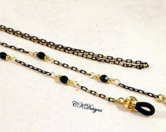 SALE Black And Gold Eyeglass Lanyard, Sunglass Lanyard, Gold And Black Chain Beaded Eyeglass Holder Necklace.  CKDesigns.us