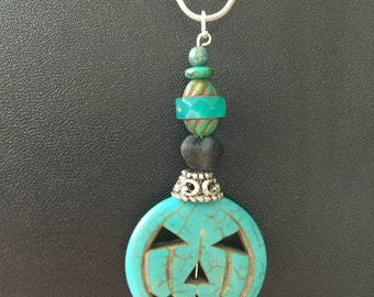 Halloween Pumpkin Pendant - Limited Edition - Made With Czech Crystals Howlite Gemstone Pumpkins in Turquoise Halloween Jewelry