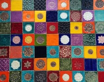 Colorful tiles, unique tiles, unusual, 50 ceramic tiles set
