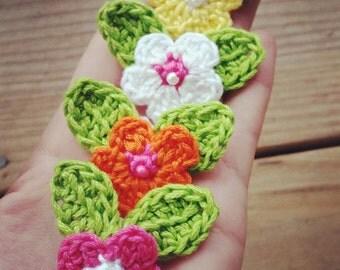 Crochet Spring Flower Barrettes