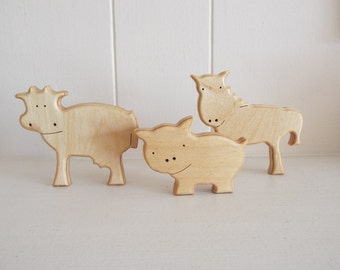 Wood Farm Animals Set - Cow, Horse, Pig