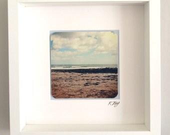 Langland Bay Surf, Gower, framed vintage effect photo by Rebecca Jory.