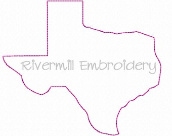 Raggy Applique State of Texas Machine Embroidery Design - 4 Sizes