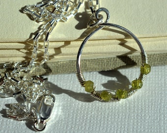 Vesuvianite Necklace, Olive Green Necklace, Silver Circle Necklace, Sterling Wire Wrapped Pendant, Green Gemstone Necklace, Circle Pendant