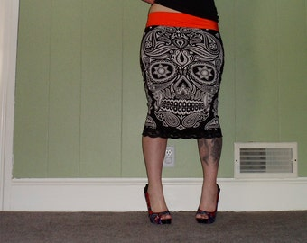 Spirit World - Day Of The Dead - Black Pencil Skirt