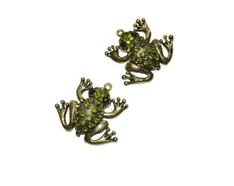 Pair of Spring Green Frog Pendants Discount Jewelry Supplies Set of Two Frog Rhinestone Pendants Unique Gifts for Her