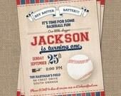 Vintage Baseball Birthday Invitation, Baseball Birthday, Digital Printable File