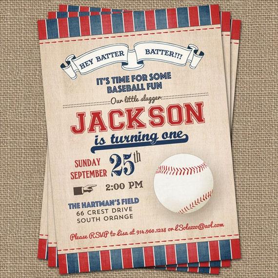 Vintage Baseball Birthday Invitations: Vintage Baseball Birthday Invitation Baseball Birthday