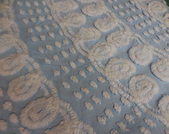 "Gorgeous Sky BLUE with White CURLIQUES and PUPS Vintage Chenille Bedspread Fabric - 24"" X 27+"" - #2"