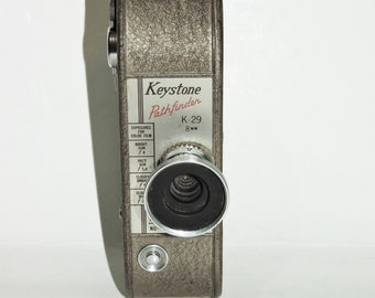 Keystone Pathfinder K-29 8mm Movie Camera Exposures For Color Film Home Movies Video Brown Silver Mid Century Camera