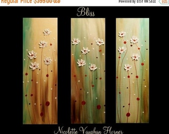 """Sale Original Abstract Triptych 3  panel Contemporary  modern art  on canvas painting 'Bliss""""by Nicolette Vaughan Horner"""