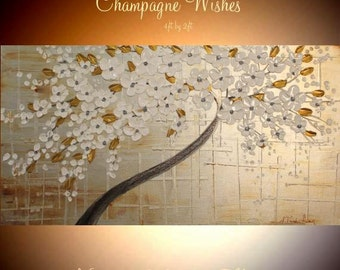 """XL Champagne Wishes Oil Landscape Abstract Original  48"""" ready to ship palette knife oil  impasto oil painting by Nicolette Vaughan Horner"""
