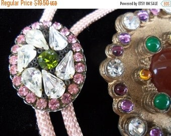Now On Sale Vintage Pink White Ice & Green Rhinestone Pendant Pink Bolo Tie Necklace Rockabilly Mod 1950's Jewelry Retro Old Hollywood Glam