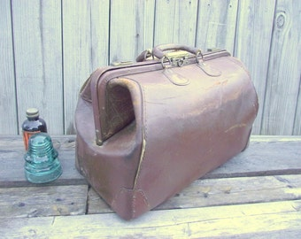 Antique Doctors Bag - Brown Leather - Nice for travel or your display
