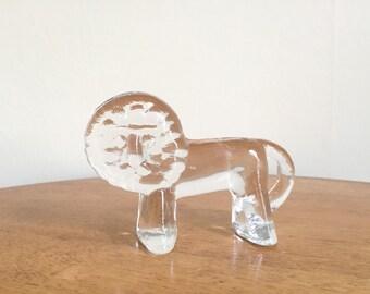 Kosta Boda Glass Lion - Glass Paperweight - Kosta Boda Crystal Paperweight - Lion Figurine