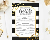 Black and Gold Bridal Shower Games, Gold Bridal Mad Libs Game, Bridal Shower Games Printable Glitter Confetti Mad Libs Instant Download BR25
