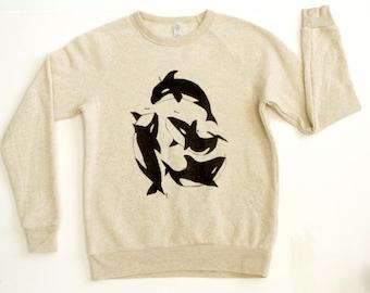 pacific northwest ORCA whale tan HEATHERED sweatshirt TILIKUM size xs-xl Portland Seattle