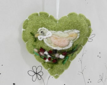 Needle felted heart ornament, Forget me not heart ornament, light green wool dove on floral branch, felt heart ornament, heart pincushion