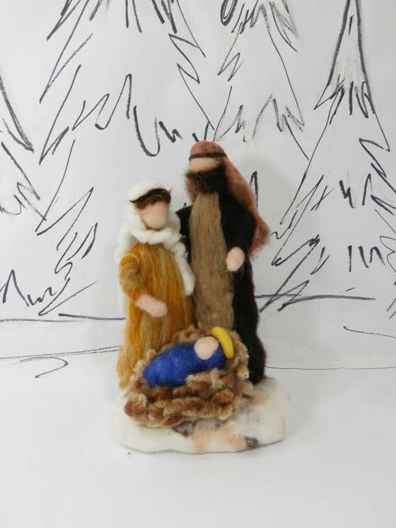 Needle Felted Nativity Scene Waldorf Christmas Nativity Wool