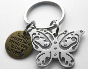 Butterfly key ring - stainless steel and brass - Today would be a lovely day to be a butterfly