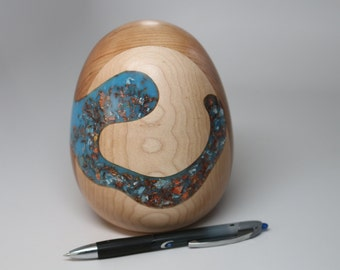 Handcrafted Segmented Wooden Egg Ostrich Size Decoratively Turned & Carved with Lite Blue Pearl Resin, Mixed Colored Gold Leaf Inlay Art