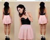 15% OFF 1DAY SALE 60s 70s Vtg Baby Pink Sweater Knit Crochet High Waisted Dolly Skirt / Lolita Kawaii Skater Flared Grunge Mod / Xs Sm
