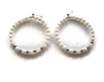White Shell Beaded Hoop Earrings