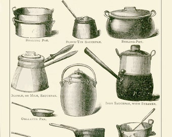 Kitchen Print of Cooking Utensils. Fish Kettles and Stock Pots. Bain Marie and Saucepans. Cooks Kitchen Utensils. Mothers Day Gift for Mom