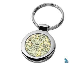 Map Keychain Annapolis Maryland Key Ring Fob