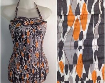 Vintage 1940s 1950s Orange & Gray Jantzen Novelty Ruched One Piece Swimsuit / Women's XS / 50s Atomic Halter One Piece Rockabilly