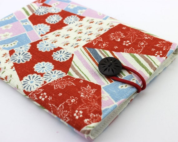 Kindle Paperwhite case - Kobo Glo cover or Padded Tablet Cover Sleeve Case Kimono pattern fabric chrysanthemum flowers