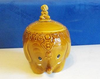 Vintage Lefton Elephant Cookie Jar Rare
