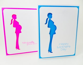 Pregnant Card, Mother's Day Card, Pregnant Mom Card, Congratulations Card, Congrats Pregnancy Card, Mom Card, Baby Mom Card, Preggy Card