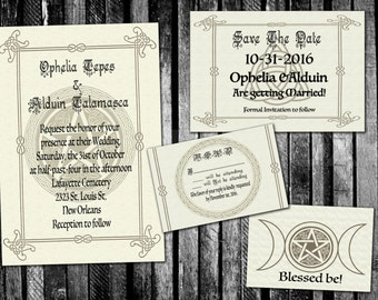 Pentagram Pagan Handfasting Wedding Invitation Save The Date RSVP And Thank You Digital