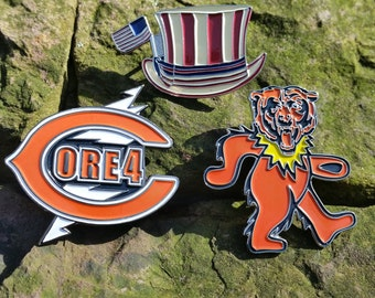 SALE - SET OF 3 Chicago pins - Grateful Dead / Jerry Garcia / Core 4 / Soldier Field / Dead50 - trey, dancing bear, dead and company co