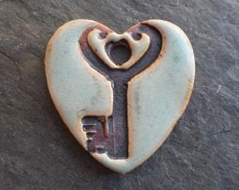 The Key- handmade rustic ceramic skeleton key heart pendant glossy seafoam green 1632
