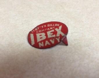 Ibex Navy tobacco tag vintage 1910 Scotten Dillon Co tin tobacco tag