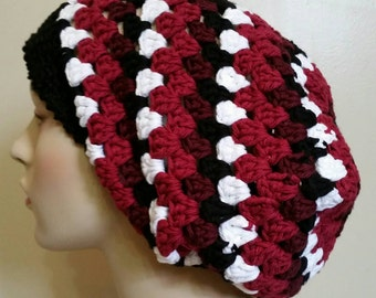 Cotton Striped Crochet Slouchy Hat Dreadlock Tam - Maroon/Black