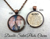 Custom Photo Double Sided Aunt Necklace OR Aunt Key Chain - Aunt Dictionary Definition Charm - Personalized Aunt Jewelry for Mothers Day