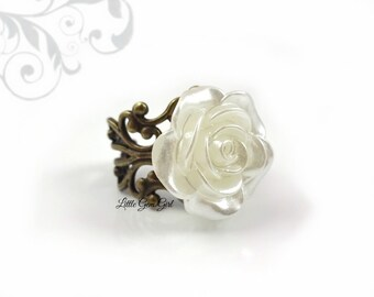 White Rose Ring - Ivory Rose Ring Iridescent Rose Ring with AB effect - 6 Metal Finishes HIGH QUALITY Adjustable Filigree Ring Rose Jewelry