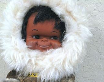 "Vintage Doll - Eskimo, Native American, Alaskan Souvenier Doll - 1970's - 12"" Tall"