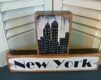 NEW YORK Blocks Everyday Shelf Sitter Hand Painted Wood