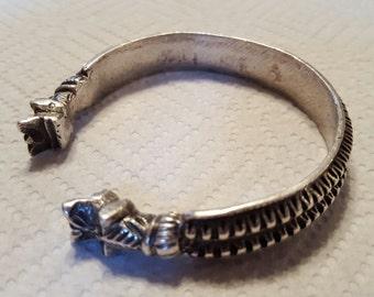 antique sterling silver mans cuff bracelet handmade sterling silver Asian cuff