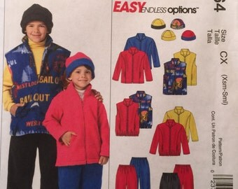 McCall's M4964 Children's and Boys' Jacket, Vest, Pull-On Pants and Reversible Hat Pattern, UNCUT, Size X Small, Small, Easy Endless Options